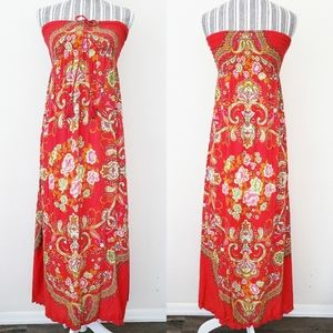 Flying Tomato Rayon Smocked Strapless Floral Dress